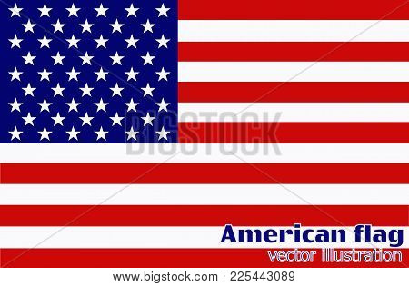 Bright Background With Flag Of America. Happy Birthday America Background. Bright Illustration With
