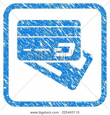 Dash Banking Cards Rubber Seal Stamp Watermark. Icon Vector Symbol With Grunge Design And Unclean Te