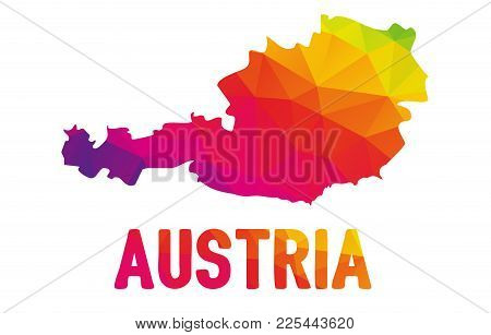 Colorful Polygonal Map Of Australie, Geometry Cartographic Illustration, Isolated On White, Multicol