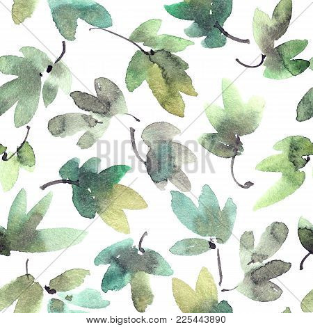 Watercolor And Ink Illustration Of Tree Leaves. Sumi-e, U-sin Painting. Seamless Pattern.