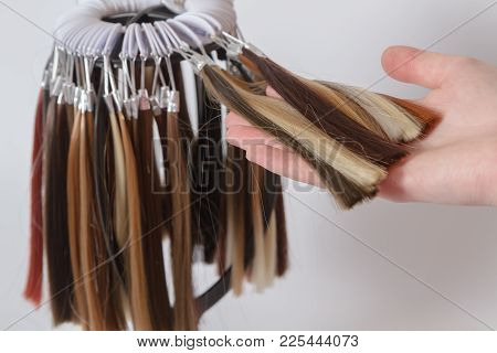 Palette Of Samples Of Colored Hair Of Various Shades. The Hand Of A Young Girl Chooses A Pattern Of