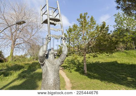 Barcelona,spain-may 3,2017:monument Tribute To Charlie Rivel, Spanish Circus Clown In Garden Joan Br