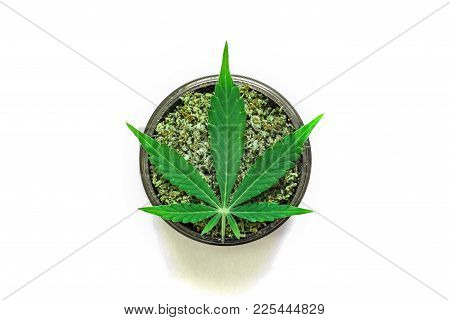 Grinder With Crushed Weed Leaf Of Cannabis, On A White Background Top View Close Medical Use Thc And