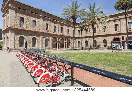 Barcelona,spain-may 15,2017:ancient Mental Health Institute,park,parc Nou Barris,barcelona.