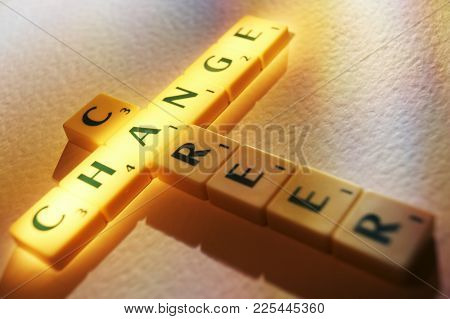 Cleckheaton, West Yorkshire, Uk: Scrabble Board Game Letters Spelling The Words Career Change, 1st J