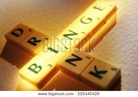 Cleckheaton, West Yorkshire, Uk: Scrabble Board Game Letters Spelling The Words Binge Drink, 1st Jun