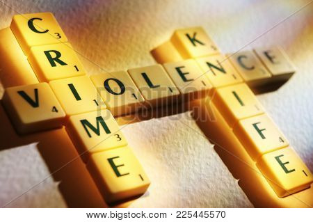 Cleckheaton, West Yorkshire, Uk: Scrabble Board Game Letters Spelling The Words Knife Crime Violence
