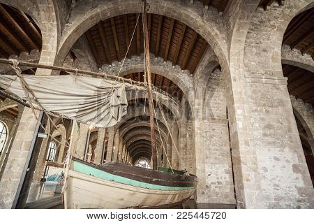 Barcelona,spain-july 23,2017:interior View Of Marritime Museum In Barcelona Royal Shipyard,port Area