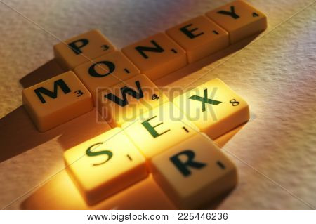 Cleckheaton, West Yorkshire, Uk: Scrabble Board Game Letters Spelling The Words Money Power Sex, 1st