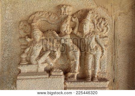Stone Bas-reliefs On The Walls Around The Vittala Temple In Hampi, Karnataka, India. Unesco World He