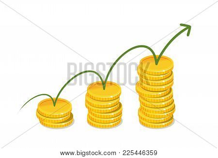 Earnings, Income Concept. Business Infographics. Vector Illustration Isolated On White Background