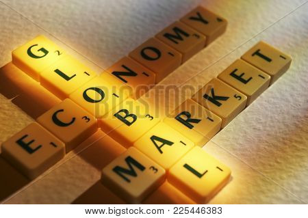 Cleckheaton, West Yorkshire, Uk: Scrabble Board Game Letters Spelling The Words Global Economy Marke