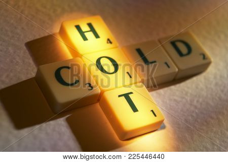 Cleckheaton, West Yorkshire, Uk: Scrabble Board Game Letters Spelling The Words Hot Cold, 1st June 2