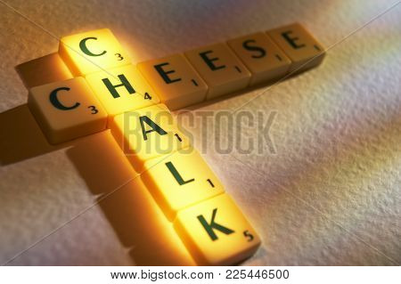 Cleckheaton, West Yorkshire, Uk: Scrabble Board Game Letters Spelling The Words Chalk Cheese, 1st Ju