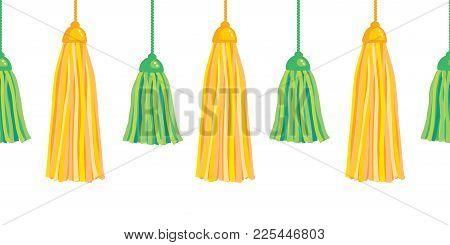 Vector Green Yellow Hanging Decorative Tassels Set With Ropes Horizontal Seamless Repeat Border Patt