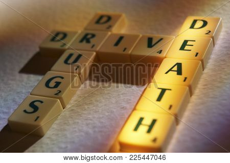 Cleckheaton, West Yorkshire, Uk: Scrabble Board Game Letters Spelling The Words Drug Drive Death, 1s
