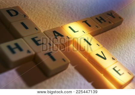 Cleckheaton, West Yorkshire, Uk: Scrabble Board Game Letters Spelling The Words Diet Healthy Live, 1