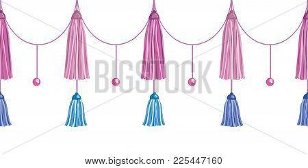 Vector Fun Pink Decorative Long Tassels Set Horizontal Seamless Repeat Border Pattern. Great For Han