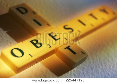 Cleckheaton, West Yorkshire, Uk: Scrabble Board Game Letters Spelling The Words Diet Obesity, 1st Ju