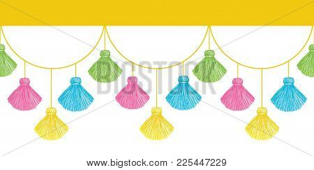 Vector Fun Colorful Decorative Tassels Set Horizontal Seamless Repeat Border Pattern. Great For Hand