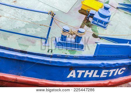 Bilbao,spain-january 12,2017:detail Barge,gabarra Athletic From Football Team, Exterior Of Maritime