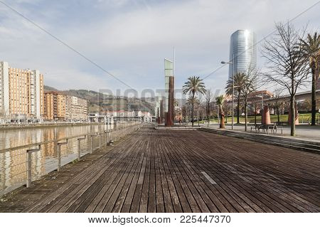 Bilbao,spain-january 12,2017:promenade Next To Nervion River, Bilbao.