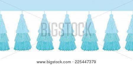 Vector Fun Blue Layered Decorative Tassels Set Horizontal Seamless Repeat Border Pattern. Great For