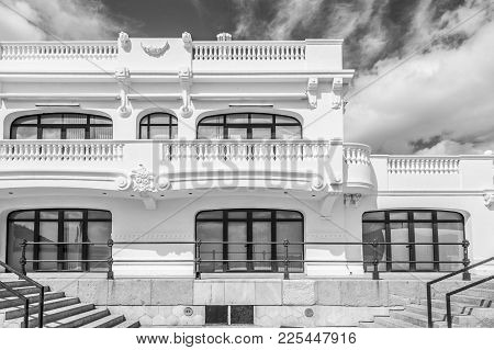 Cartagena,spain-september 22,2017:old Building Royal Club Regatta In Port,black And White,cartagena,