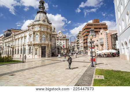 Cartagena,spain-september 20,2017:street View, Square, Plaza Heroes De Cavite, Historic Center And T