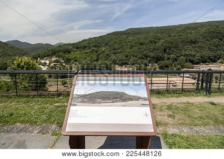 Castellfollit De La Roca,spain-may 17,2017:landscape And Information Sign In Lookout Balcony Of Cast