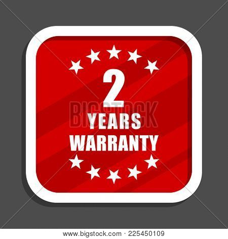 Warranty guarantee 2 year icon. Flat design square internet banner.