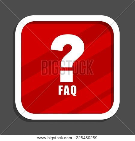 Faq icon. Flat design square internet banner.