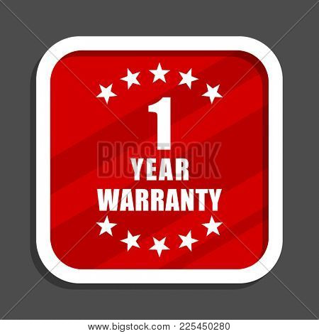 Warranty guarantee 1 year icon. Flat design square internet banner.
