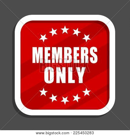 Members only icon. Flat design square internet banner.