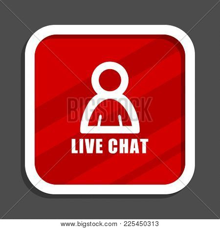 Live chat icon. Flat design square internet banner.