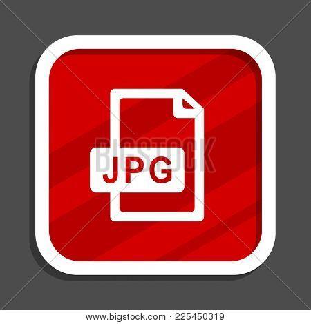 Jpg file icon. Flat design square internet banner.