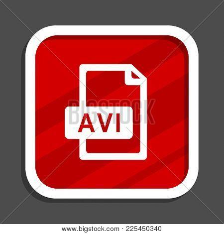 Avi file icon. Flat design square internet banner.