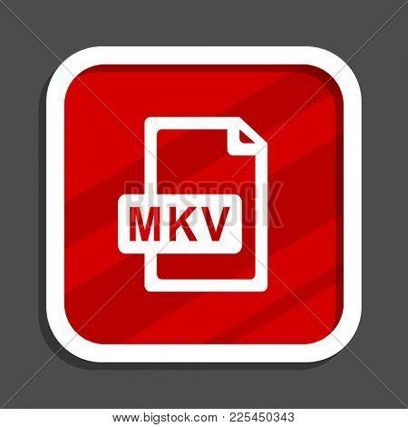 Mkv file icon. Flat design square internet banner.
