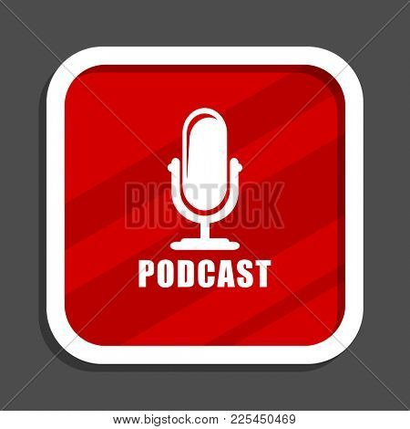 Podcast icon. Flat design square internet banner.