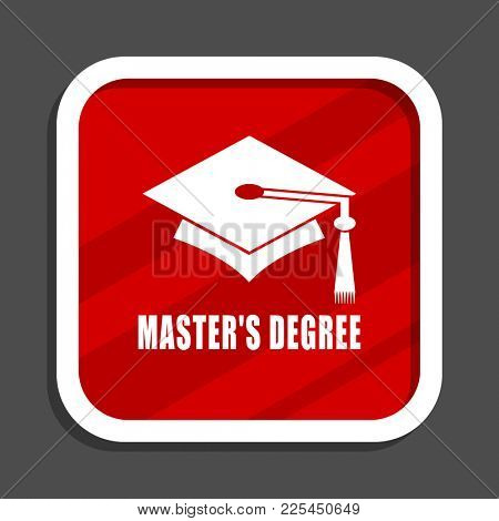 Masters degree icon. Flat design square internet banner.