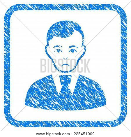 Clerk Guy Rubber Seal Stamp Watermark. Icon Vector Symbol With Grunge Design And Dirty Texture In Ro