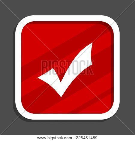 Accept icon. Flat design square internet banner.