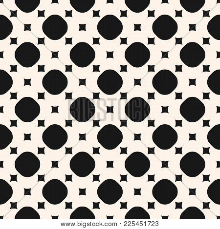 Monochrome Seamless Pattern, Simple Geometric Texture With Small Squares And Circles. Black And Whit