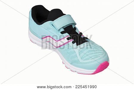 One Female Blue Sports Shoe On A White Background. Inside View