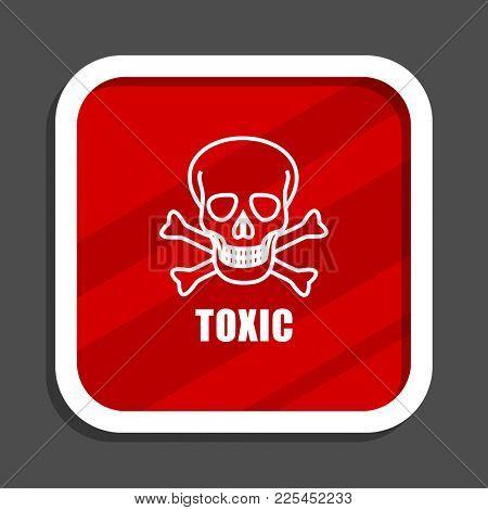 Toxic skull icon. Flat design square internet banner.