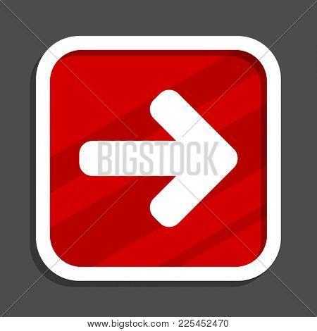 Right arrow icon. Flat design square internet banner.