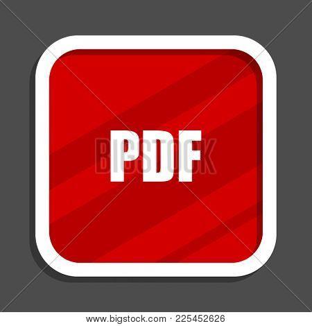 Pdf icon. Flat design square internet banner.
