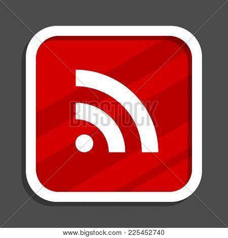 Rss icon. Flat design square internet banner.