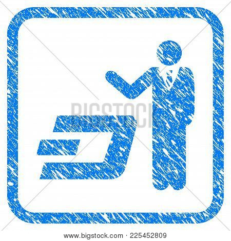 Businessman Show Dash Rubber Seal Stamp Imitation. Icon Vector Symbol With Grunge Design And Unclean