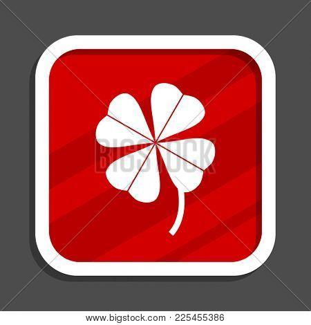 Four-leaf clover icon. Flat design square internet banner.